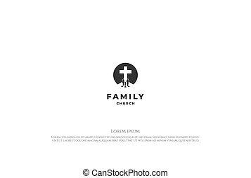 izbogis, templom, árnykép, család, jézus, jel, keresztény, egyszerű, tervezés, vektor, minimalista, kereszt