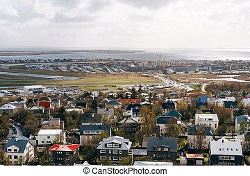 izland, ősz, főváros, above., reykjavik, iceland., utca, város, reykjavik.