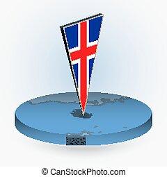 izland, isometric, kerek, háromszögű, mód, térkép, 3, lobogó