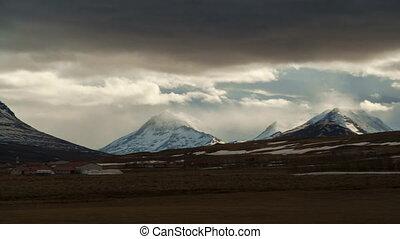 izland, múlás, drámai, elhomályosul, idő