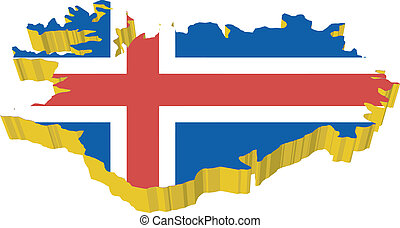 izland, vectors, 3, térkép