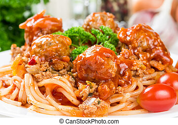 izomerő, bolognese, spagetti hús labda