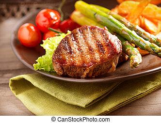 izomerő, növényi, grillezett, hússzelet, hús