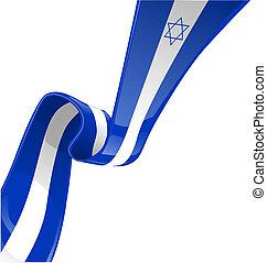 izrael, fehér, izolál, lobogó, szalag