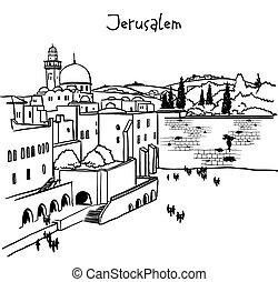 izrael, jeruzsálem, öreg város, láthatár