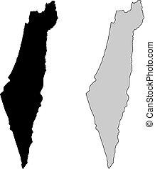 izrael, projection., map., fekete, white., mercator