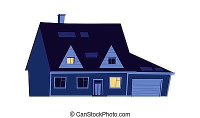 izzó, épület, épület, éjszaka, windows