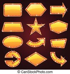 izzó, fényesen, mozi, aláír, arany-, retro, neon