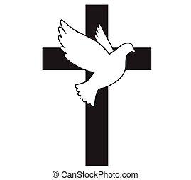 jámbor, jelkép, illustration., peace., vektor, repülés, galamb, religion., cross., templom, spirit., logo.