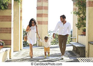 jár, család, liget, olasz, fiatal