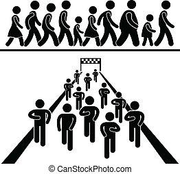 jár, futás, közösség, pictogram