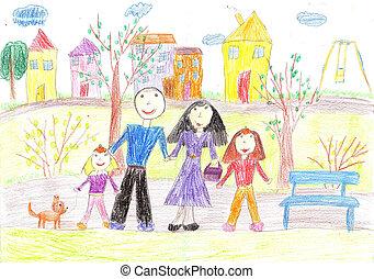 jár, rajz, család, gyermekek