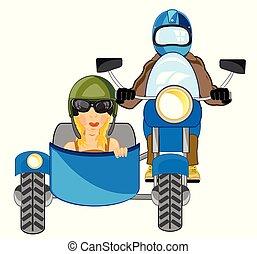 jár, sidercar, motorkerékpár, szállít, emberek
