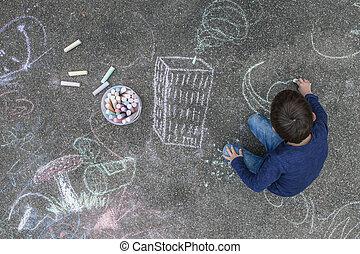 járda rajz, kréta, fiú, fiatal
