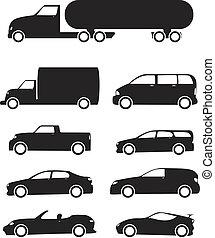 jármű, állhatatos, ikon