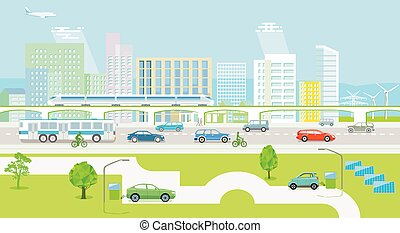 jármű, elektromos, ökológiai, train.eps, város, utas