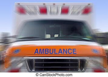 jármű, szükséghelyzet, gyorshajtás, -, mentőautó, eleje kilátás