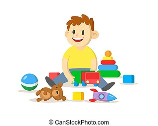 játék, ábra, floor., apró, ülés, elszigetelt, fiú, mosolygós, vektor, övé, háttér., lakás, fehér