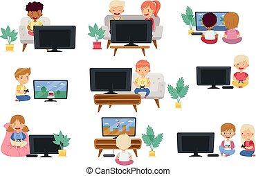 játék, ülés, kevés, játék, gyerekek, vektor, állhatatos, gamepad, video