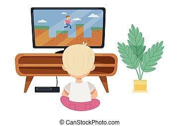 játék, emelet, ülés, játék, vektor, fiú, csinos, ábra, gamepad, video