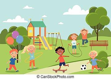 játék, fiatal, csoport, liget, barátok, különböző
