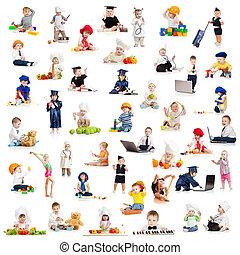 játék, fogadalmak, csecsemő, gyerekek, gyerekek