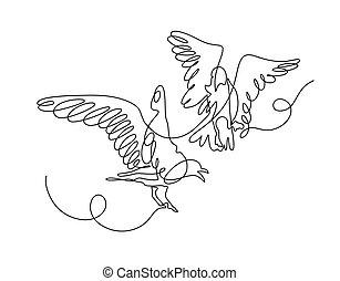 játék, folyamatos, két, egy, más, mindegyik, megtölt rajz, madarak