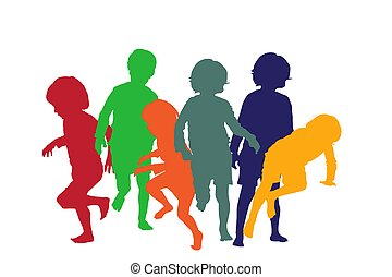 játék, gyerekek, 4, körvonal