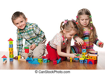 játék, gyerekek, három, emelet
