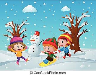 játék, gyerekek, három, hó
