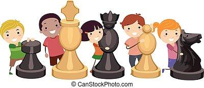 játék, gyerekek, stickman, sakkjáték