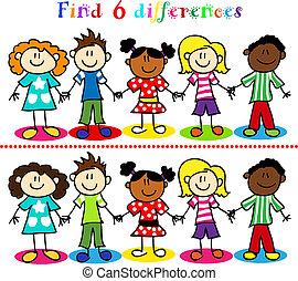 játék, gyerekek, számolás, bot, különbség
