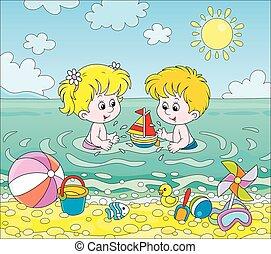 játék, gyerekek, tenger víz, tengerpart
