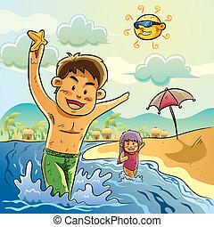 játék, gyerekek, tengerpart