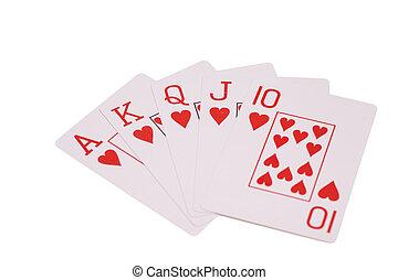 játék, háttér, elszigetelt, pirul, kártya, királyi, fehér