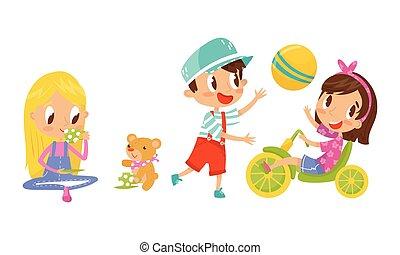 játék, hord, gyerekek, állhatatos, aktivál, vektor, játékszer, labda