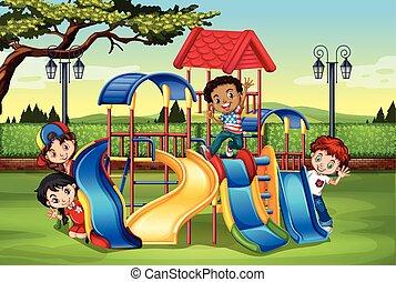 játék, játszótér, gyerekek