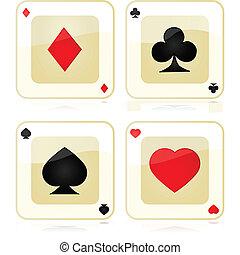 játék kártya, ikonok
