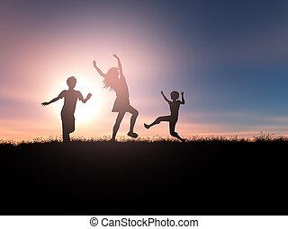 játék, körvonal, napnyugta, gyerekek, táj, 3
