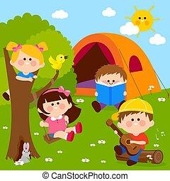 játék, kempingezés, ábra, gyerekek, boldog, erdő, vektor, házhely.