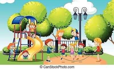 játék, liget, közönség, gyerekek