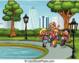 játék, liget, karikatúra, gyerekek