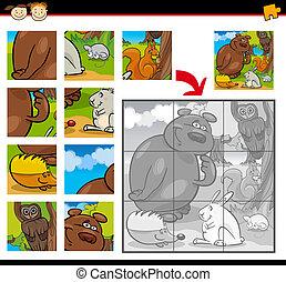 játék, lombfűrész, állatok, rejtvény, karikatúra