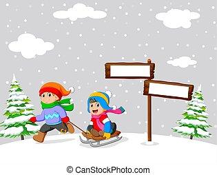 játék, lovagol, gyerekek, tél, sleigh