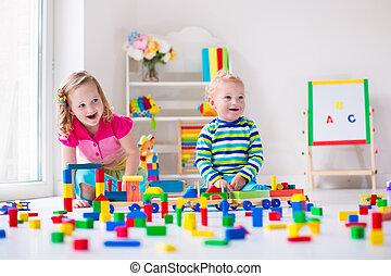 játék, nap, gyerekek, törődik