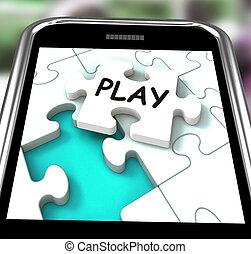 játék, smartphone, pihenés, játékok, internet, látszik