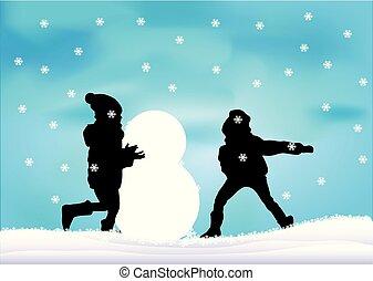játék, snow., gyerekek