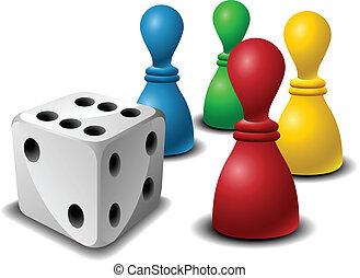 játék, számolás, bizottság, dobókocka