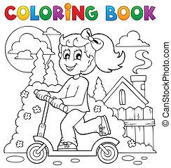 játék, színezés, gyerekek, téma, 2, könyv