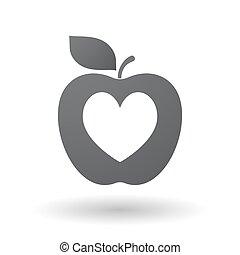 játék, szív, kártya, piszkavas, elszigetelt, aláír, alma